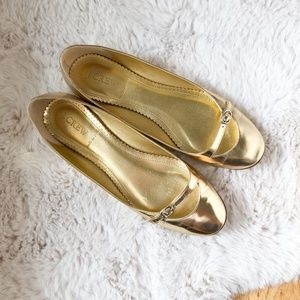 J. CREW Metallic Gold Flats with Buckle Size 8